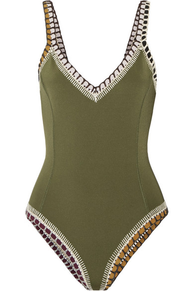 Kiini - Wren Crochet-trimmed Swimsuit - Army green