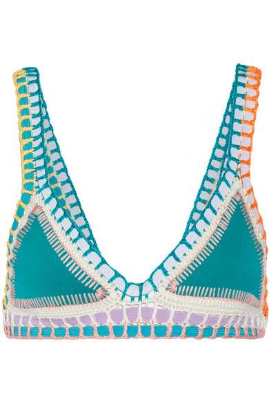 Kiini - Liv Crochet-trimmed Triangle Bikini Top - Jade