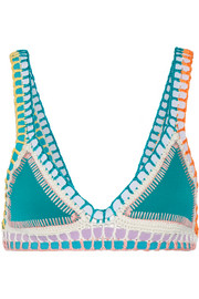 Liv crochet-trimmed triangle bikini top