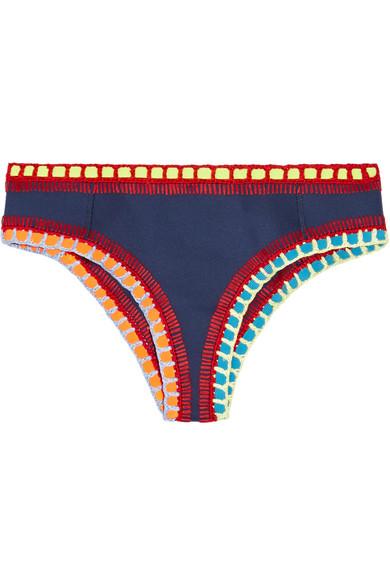 Kiini - Tasmin Crochet-trimmed Bikini Briefs - Storm blue