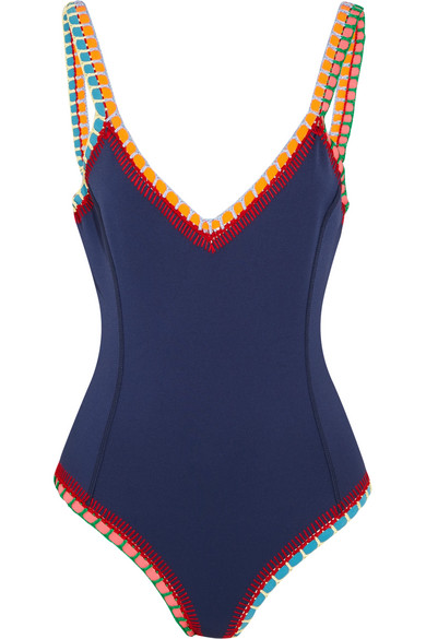 Kiini - Tasmin Crochet-trimmed Swimsuit - Storm blue