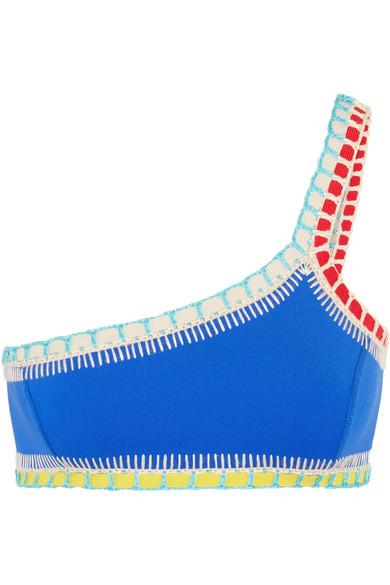 Kiini - Tuesday One-shoulder Crochet-trimmed Bikini Top - Blue