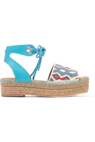 Neera bead-embellished leather espadrille sandals