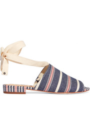 Tai striped woven canvas sandals