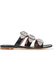 Natalia buckled leather slides