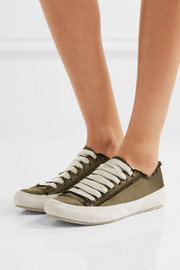 Pedro Garcia Parson suede-trimmed satin sneakers