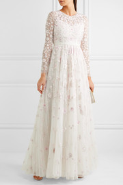 Rosette embellished embroidered tulle gown