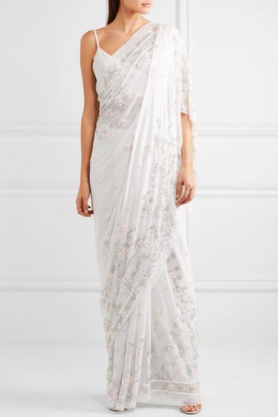 Needle & Thread Astral verzierter Sari aus Seidenchiffon
