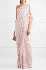 Astral embellished silk-chiffon saree