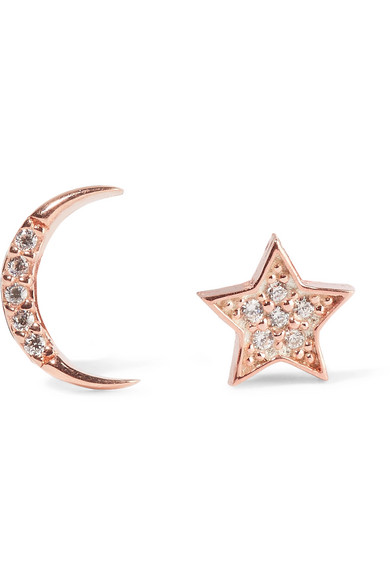 Aamaya By Priyanka - Moon And Star Rose-gold Plated Topaz Earrings - Rose gold