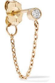 Chained to my Heart 14-karat gold diamond earring