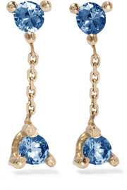 Wwake Two-step 14-karat gold sapphire earrings