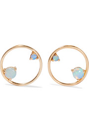 Wwake 14-karat gold opal earrings