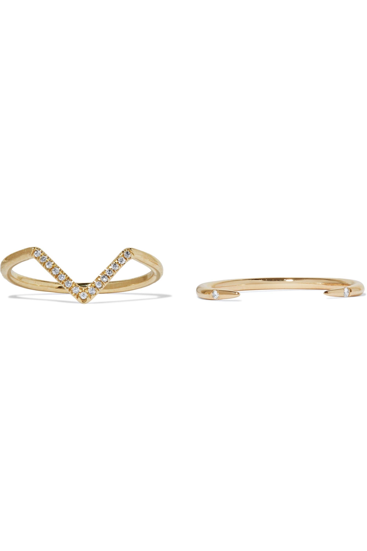 Wwake Set of two 14-karat gold diamond rings