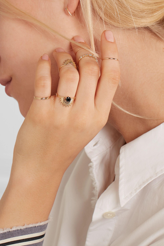 Pin Ring aus 14 Karat Gold mit Saphir
