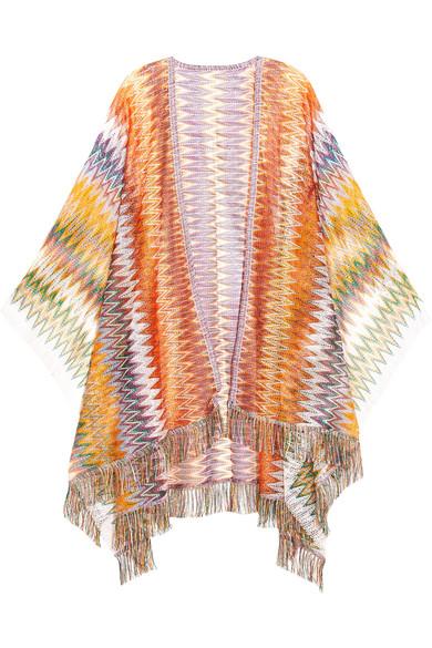 missoni female missoni fringed crochetknit poncho orange