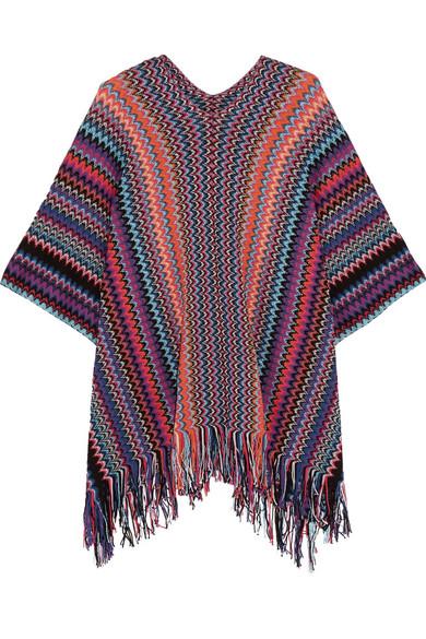Missoni - Fringed Metallic Crochet-knit Poncho - Purple