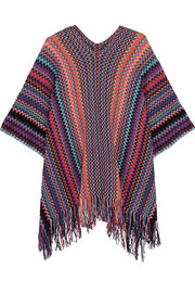 Missoni Fringed metallic crochet-knit poncho