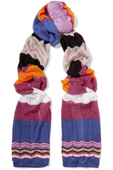 Missoni - Crochet-knit Cotton-blend Scarf - Purple