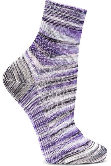 Missoni - Striped Crochet-knit Socks - Purple
