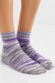 Striped crochet-knit socks