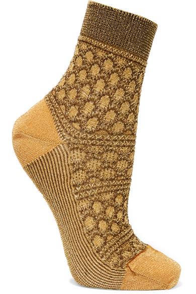 Missoni - Metallic Crochet-knit Socks - Mustard