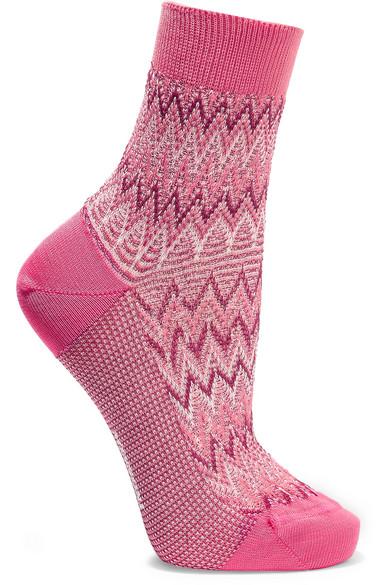 Missoni - Metallic Crochet-knit Cotton-blend Socks - Pink