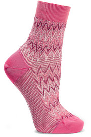 Metallic crochet-knit cotton-blend socks