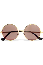 Round-frame acetate and gold-plated sunglasses
