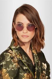 Round-frame gold-plated sunglasses