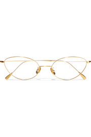 Cat-eye gold-plated optical glasses