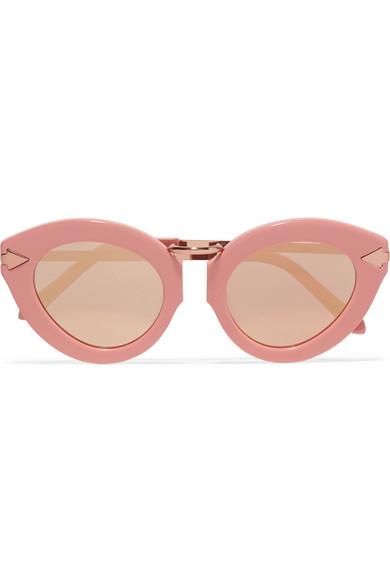 4a48de5efc Karen Walker. Lunar Flowerpatch cat-eye acetate and rose gold-tone mirrored  sunglasses