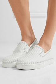 Christian Louboutin Pik Boat spiked textured-leather slip-on sneakers