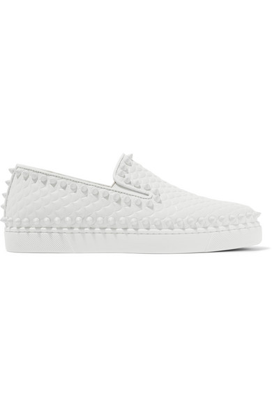 the latest 54e4b ee727 Pik Boat spiked textured-leather slip-on sneakers