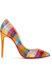 Christian Louboutin Pigalle Follies 100 metallic jacquard pumps