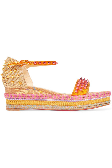 Christian Louboutin - Madmonica 60 Spiked Metallic Textured-leather Espadrille Sandals - Gold