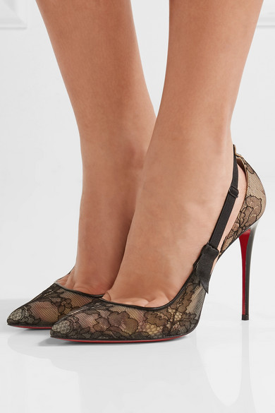 2561c081e06 Christian Louboutin. Hot Jeanbi 100 satin and patent leather-trimmed lace  pumps