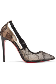 Hot Jeanbi 100 satin and patent leather-trimmed lace pumps