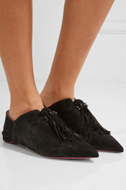 Christian Louboutin Medinana fringed suede slippers