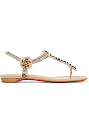 Christian Louboutin Kaleifra spiked suede and lamé sandals