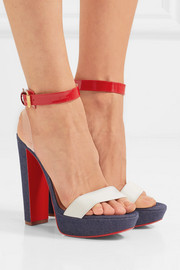 Christian Louboutin Cherry pvc, patent and smooth leather-trimmed denim sandals