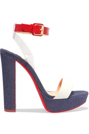 Christian Louboutin Cherry 140 PVC, patent and smooth leather-trimmed denim sandals