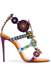 Christian Louboutin Kaleikita 100 studded suede, metallic and glittered leather sandals