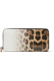 Panettone dégradé leopard-print leather continental wallet
