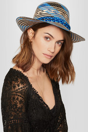 Pompom-embellished woven straw sunhat