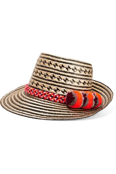 Yosuzi - Falling Star Pompom-embellished Woven Straw Sunhat - Beige