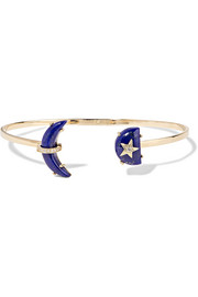 Crescent Moon 14-karat gold, lapis lazuli and diamond cuff