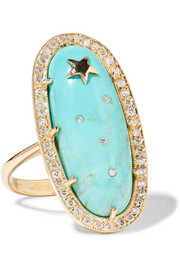 Sleeping Beauty 18-karat gold, turquoise and diamond ring