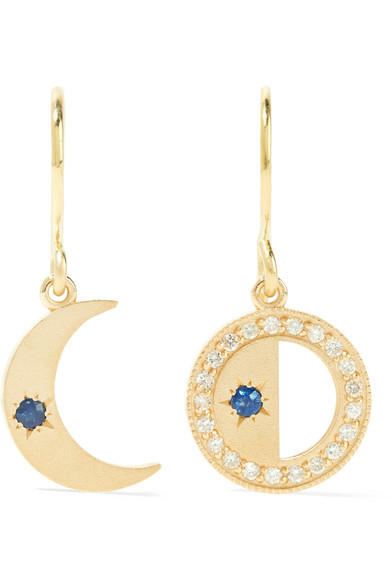 Andrea Fohrman - Crescent Moon 18-karat Gold, Sapphire And Diamond Earrings
