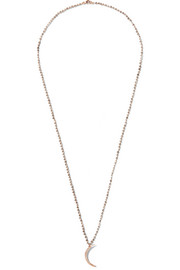 Andrea Fohrman Crescent Moon quartz, 14-karat rose gold and diamond necklace